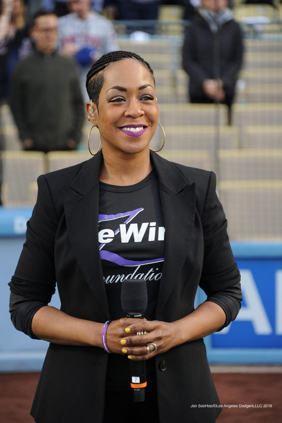 Tichina Arnold smiles before singing the national anthem prior to game against the New York Mets Tuesday, May 10,2016 at Dodger Stadium in Los Angeles,California.  Jon SooHoo/©Los Angeles Dodgers,LLC 2016