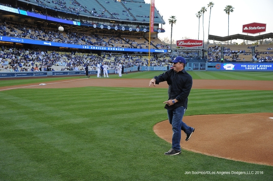 Mercedes Benz representative Sean DavissonLos Angeles Dodgers prior to game against the New York Mets Tuesday, May 10,2016 at Dodger Stadium in Los Angeles,California.  Jon SooHoo/©Los Angeles Dodgers,LLC 2016