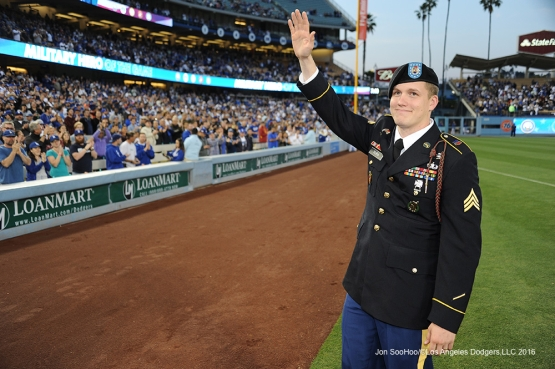 Los Angeles Dodgers Military Hero of the Game Ryan Paul waves to the crowd during game against the New York Mets Tuesday, May 10,2016 at Dodger Stadium in Los Angeles,California.  Jon SooHoo/©Los Angeles Dodgers,LLC 2016