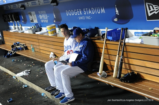 Los Angeles Dodgers Alex Wood and Rick Honeycutt chat during  game against the New York Mets Tuesday, May 10,2016 at Dodger Stadium in Los Angeles,California.  Jon SooHoo/©Los Angeles Dodgers,LLC 2016