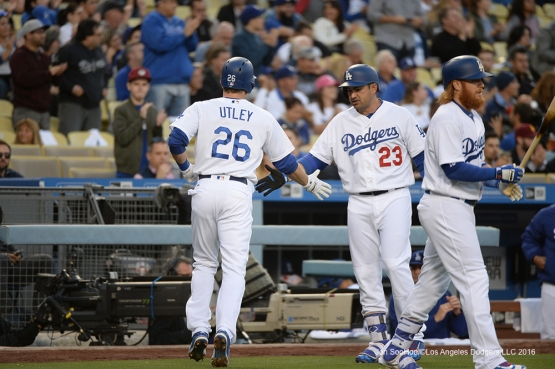 Los Angeles Dodgers Chase Utley scores the first run against the New York Mets Tuesday, May 10,2016 at Dodger Stadium in Los Angeles,California.  Jon SooHoo/©Los Angeles Dodgers,LLC 2016