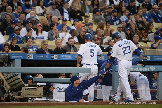 Los Angeles Dodgers Corey Seager scores the second run of the game against the New York Mets Tuesday, May 10,2016 at Dodger Stadium in Los Angeles,California.  Jon SooHoo/©Los Angeles Dodgers,LLC 2016