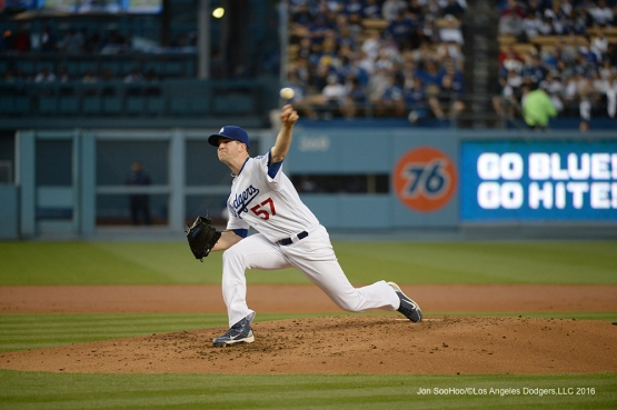 Los Angeles Dodgers Alex Wood pitches against the New York Mets Tuesday, May 10,2016 at Dodger Stadium in Los Angeles,California.  Jon SooHoo/©Los Angeles Dodgers,LLC 2016