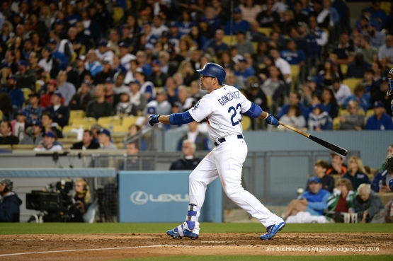 Los Angeles Dodgers Adrian singles against the New York Mets Tuesday, May 10,2016 at Dodger Stadium in Los Angeles,California.  Jon SooHoo/©Los Angeles Dodgers,LLC 2016