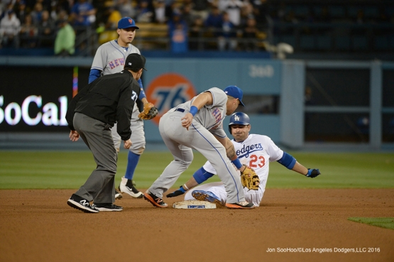 Los Angeles Dodgers Adrian Gonzalez is out at second against the New York Mets Tuesday, May 10,2016 at Dodger Stadium in Los Angeles,California.  Jon SooHoo/©Los Angeles Dodgers,LLC 2016