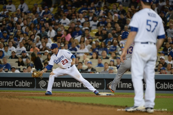Los Angeles Dodgers Adrian Gonzalez gets the out at first during game against the New York Mets Tuesday, May 10,2016 at Dodger Stadium in Los Angeles,California.  Jon SooHoo/©Los Angeles Dodgers,LLC 2016