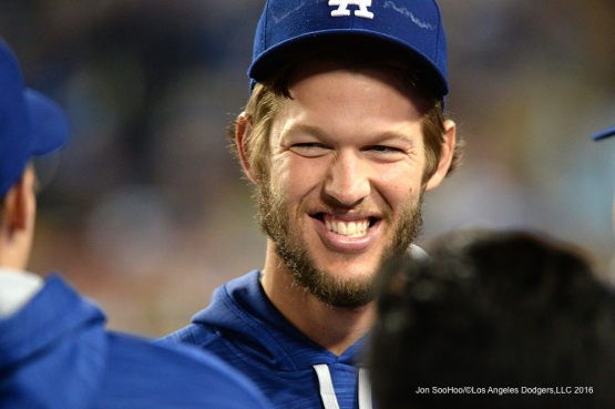 Los Angeles Dodgers Clayton Kershaw smiles during game against the New York Mets Tuesday, May 10,2016 at Dodger Stadium in Los Angeles,California.  Jon SooHoo/©Los Angeles Dodgers,LLC 2016