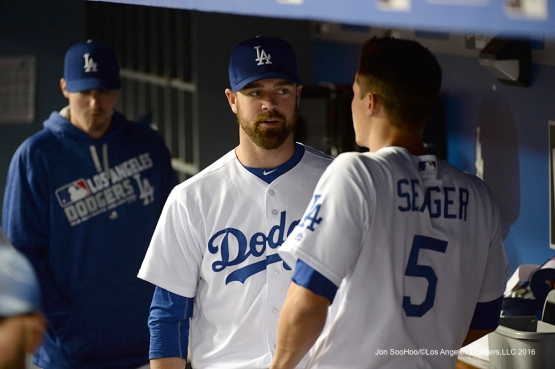 Los Angeles Dodgers Louis Coleman and Corey Seager talk during game against the New York Mets Tuesday, May 10,2016 at Dodger Stadium in Los Angeles,California.  Jon SooHoo/©Los Angeles Dodgers,LLC 2016