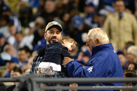 Jimmy Kimmel with Tommy Lasorda during game against the New York Mets Tuesday, May 10,2016 at Dodger Stadium in Los Angeles,California.  Jon SooHoo/©Los Angeles Dodgers,LLC 2016