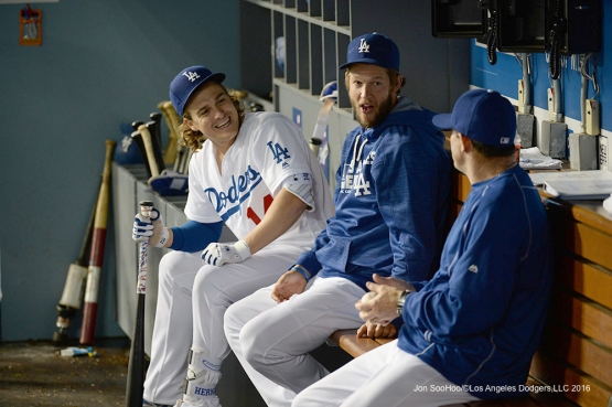 Los Angeles Dodgers Kike Hernandez, Clayton Kershaw talk with Turner Ward during game against the New York Mets Tuesday, May 10,2016 at Dodger Stadium in Los Angeles,California.  Jon SooHoo/©Los Angeles Dodgers,LLC 2016