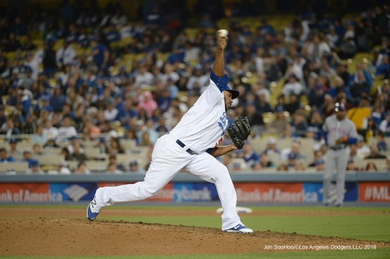 Los Angeles Dodgers Pedro Baez pitches during game against the New York Mets Tuesday, May 10,2016 at Dodger Stadium in Los Angeles,California.  Jon SooHoo/©Los Angeles Dodgers,LLC 2016