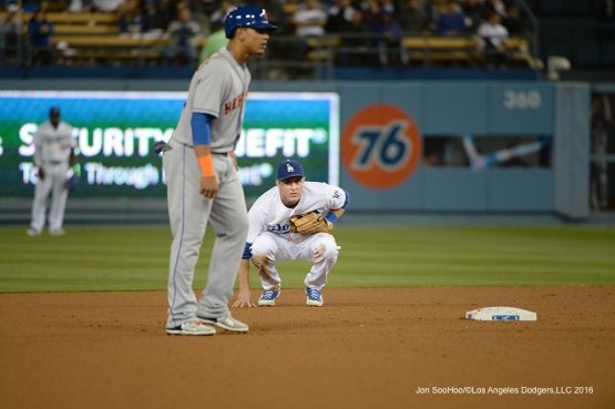 Los Angeles Dodgers Chase Utley squats during game against the New York Mets Tuesday, May 10,2016 at Dodger Stadium in Los Angeles,California.  Jon SooHoo/©Los Angeles Dodgers,LLC 2016