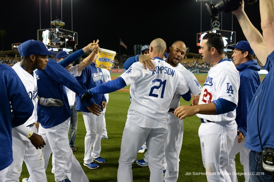 Los Angeles Dodgers greet Trayce Thompson after his walk off home run in the ninth against the New York Mets Tuesday, May 10,2016 at Dodger Stadium in Los Angeles,California. The Dodgers beat the Mets 3-2.  Jon SooHoo/©Los Angeles Dodgers,LLC 2016