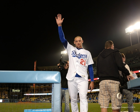 Los Angeles Dodgers Trayce Thompson waves to the crowd after his walk off home run in the ninth against the New York Mets Tuesday, May 10,2016 at Dodger Stadium in Los Angeles,California. The Dodgers beat the Mets 3-2.  Jon SooHoo/©Los Angeles Dodgers,LLC 2016