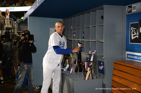 Los Angeles Dodgers Trayce Thompson in the dugout after his walk off home run in the ninth against the New York Mets Tuesday, May 10,2016 at Dodger Stadium in Los Angeles,California. The Dodgers beat the Mets 3-2.  Jon SooHoo/©Los Angeles Dodgers,LLC 2016