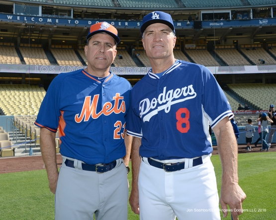 Los Angeles Dodgers Bob Geren poses with Mets coach Dick Scott prior to game Wednesday, May 11,2016 at Dodger Stadium in Los Angeles,California.  Jon SooHoo/©Los Angeles Dodgers,LLC 2016