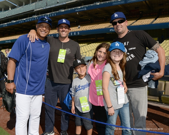 Los Angeles Dodgers Dave Roberts and guests pose prior to game against the New York Mets Wednesday, May 11,2016 at Dodger Stadium in Los Angeles,California.  Jon SooHoo/©Los Angeles Dodgers,LLC 2016