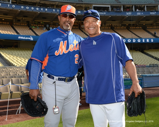 Former teammates Dave Roberts and Mets coach Ricky Bones pose prior to game against the New York Mets Wednesday, May 11,2016 at Dodger Stadium in Los Angeles,California.  Jon SooHoo/©Los Angeles Dodgers,LLC 2016