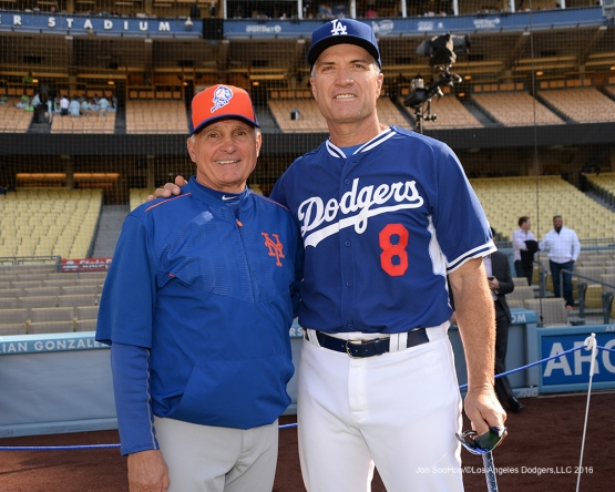Los Angeles Dodgers Bob Geren poses with Mets Manager Terry Collins prior to game against the New York Mets Wednesday, May 11,2016 at Dodger Stadium in Los Angeles,California.  Jon SooHoo/©Los Angeles Dodgers,LLC 2016