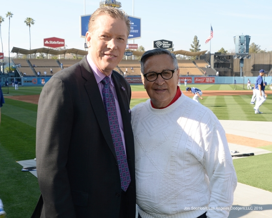 Orel Hershiser and Jaime Jarrin pose prior to game against the New York Mets Wednesday, May 11,2016 at Dodger Stadium in Los Angeles,California.  Jon SooHoo/©Los Angeles Dodgers,LLC 2016