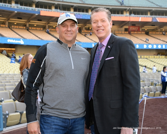 USC Head Coach Clay Helton poses with Orel Hershiser prior to game against the New York Mets Wednesday, May 11,2016 at Dodger Stadium in Los Angeles,California.  Jon SooHoo/©Los Angeles Dodgers,LLC 2016