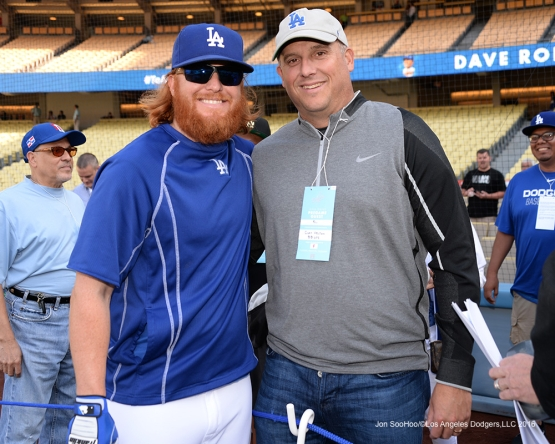 Los Angeles Dodgers Justin Turner poses with USC Head Football Coach Clay Helton prior to game against the New York Mets Wednesday, May 11,2016 at Dodger Stadium in Los Angeles,California.  Jon SooHoo/©Los Angeles Dodgers,LLC 2016