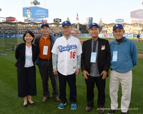 Governor of Okinawa, Mr. Takeshi Onaga poses with guests on the field prior to game against the New York Mets Wednesday, May 11,2016 at Dodger Stadium in Los Angeles,California.  Jon SooHoo/©Los Angeles Dodgers,LLC 2016