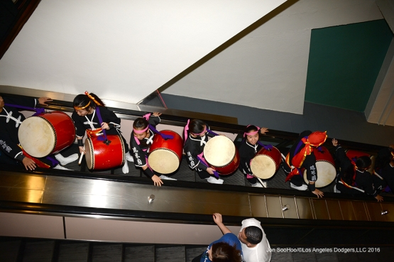 Ryukyukoku Matsuri Daiko head down to the field prior to game against the New York Mets Wednesday, May 11,2016 at Dodger Stadium in Los Angeles,California.  Jon SooHoo/©Los Angeles Dodgers,LLC 2016