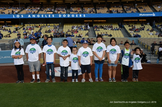Kids taking the field pose prior to game against the New York Mets Wednesday, May 11,2016 at Dodger Stadium in Los Angeles,California.  Jon SooHoo/©Los Angeles Dodgers,LLC 2016