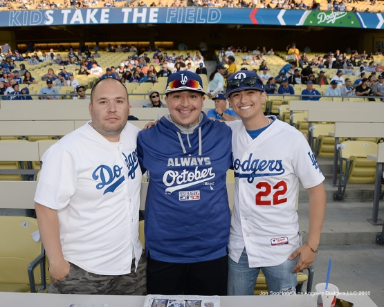 Great Los Angeles Dodgers fans pose prior to game against the New York Mets Wednesday, May 11,2016 at Dodger Stadium in Los Angeles,California.  Jon SooHoo/©Los Angeles Dodgers,LLC 2016