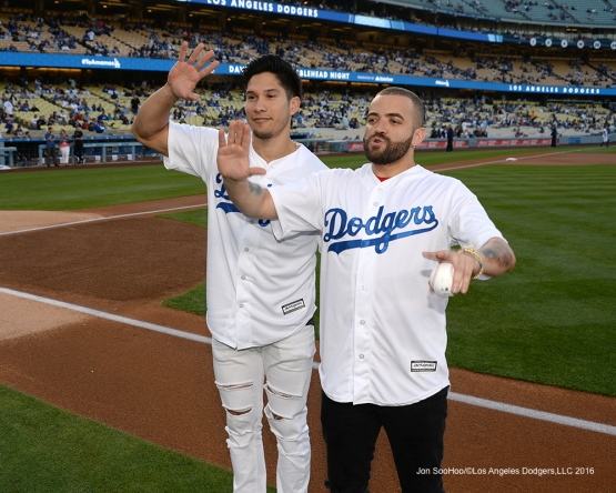 Chino y Nacho pose prior to game against the New York Mets Wednesday, May 11,2016 at Dodger Stadium in Los Angeles,California.  Jon SooHoo/©Los Angeles Dodgers,LLC 2016