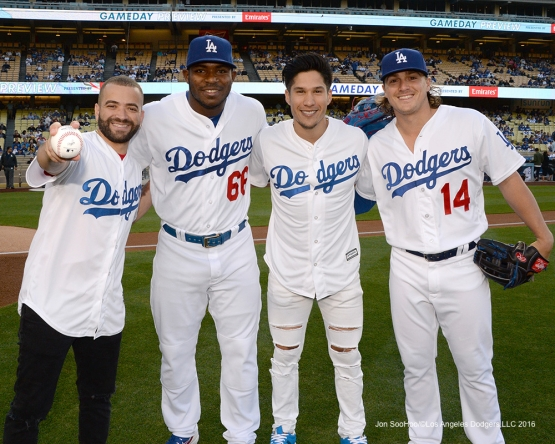 Chino y Nacho pose with Yasiel Puig and Kike Hernandez prior to game against the New York Mets Wednesday, May 11,2016 at Dodger Stadium in Los Angeles,California.  Jon SooHoo/©Los Angeles Dodgers,LLC 2016