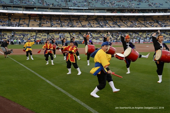 Ryukyukoku Matsuri Daiko perform on the field prior to game against the New York Mets Wednesday, May 11,2016 at Dodger Stadium in Los Angeles,California.  Jon SooHoo/©Los Angeles Dodgers,LLC 2016