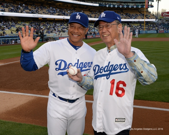 Los Angeles Dodgers Dave Roberts and Governor of Okinawa, Mr .Takeshi Onaga watch the big screen prior to game against the New York Mets Wednesday, May 11,2016 at Dodger Stadium in Los Angeles,California.  Jon SooHoo/©Los Angeles Dodgers,LLC 2016