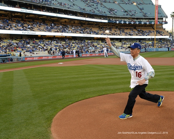 Governor of Okinawa, Mr .Takeshi Onaga throws out the first pitch prior to game against the New York Mets Wednesday, May 11,2016 at Dodger Stadium in Los Angeles,California.  Jon SooHoo/©Los Angeles Dodgers,LLC 2016
