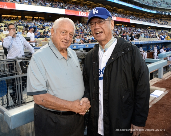 Tommy Lasorda poses with the Governor of Okinawa, Mr. Takeshi Onaga prior to game against the New York Mets Wednesday, May 11,2016 at Dodger Stadium in Los Angeles,California.  Jon SooHoo/©Los Angeles Dodgers,LLC 2016