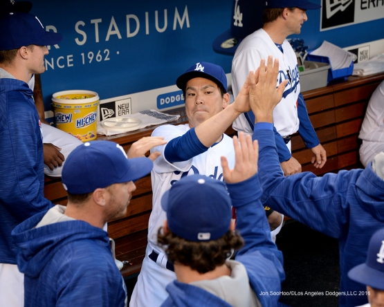Los Angeles Dodgers Kenta Maeda in the dugout prior to game against the New York Mets Wednesday, May 11,2016 at Dodger Stadium in Los Angeles,California.  Jon SooHoo/©Los Angeles Dodgers,LLC 2016