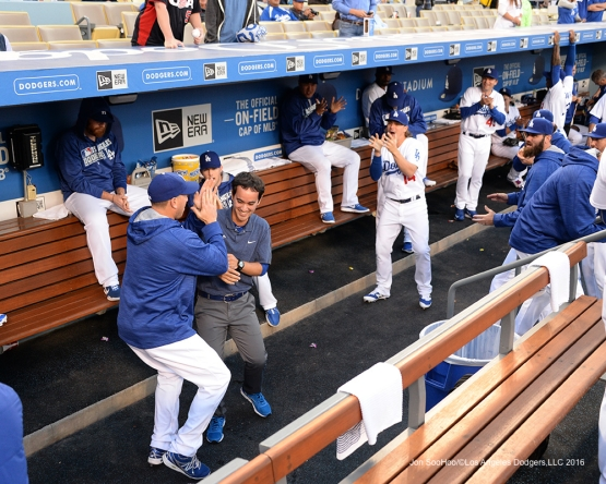 Los Angeles Dodgers in the dugout prior to game against the New York Mets Wednesday, May 11,2016 at Dodger Stadium in Los Angeles,California.  Jon SooHoo/©Los Angeles Dodgers,LLC 2016