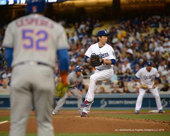Los Angeles Dodgers Kenta Maeda pitches against the New York Mets Wednesday, May 11,2016 at Dodger Stadium in Los Angeles,California.  Jon SooHoo/©Los Angeles Dodgers,LLC 2016