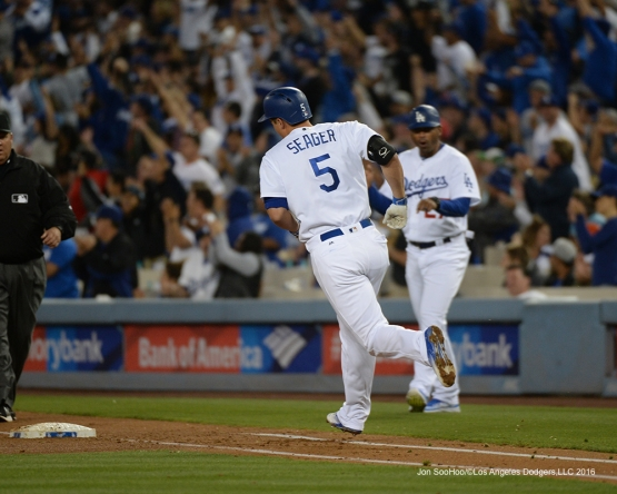 Los Angeles Dodgers Corey Seager homers against the New York Mets Wednesday, May 11,2016 at Dodger Stadium in Los Angeles,California.  Jon SooHoo/©Los Angeles Dodgers,LLC 2016
