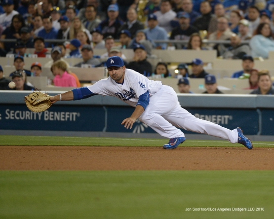Los Angeles Dodgers Adrian Gonzalez can't get to ball against the New York Mets Wednesday, May 11,2016 at Dodger Stadium in Los Angeles,California.  Jon SooHoo/©Los Angeles Dodgers,LLC 2016