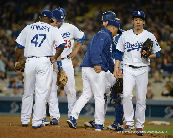 Los Angeles Dodgers Kenta Maeda comes out of the game against the New York Mets Wednesday, May 11,2016 at Dodger Stadium in Los Angeles,California.  Jon SooHoo/©Los Angeles Dodgers,LLC 2016