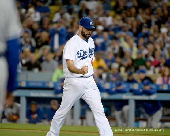 Los Angeles Dodgers Chris Hatcher gets out of the inning against the New York Mets Wednesday, May 11,2016 at Dodger Stadium in Los Angeles,California.  Jon SooHoo/©Los Angeles Dodgers,LLC 2016