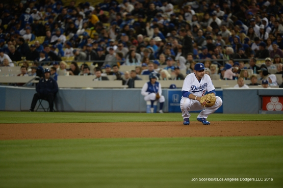 Los Angeles Dodgers Adrian Gonzalez waits through a time out against the New York Mets Wednesday, May 11,2016 at Dodger Stadium in Los Angeles,California.  Jon SooHoo/©Los Angeles Dodgers,LLC 2016
