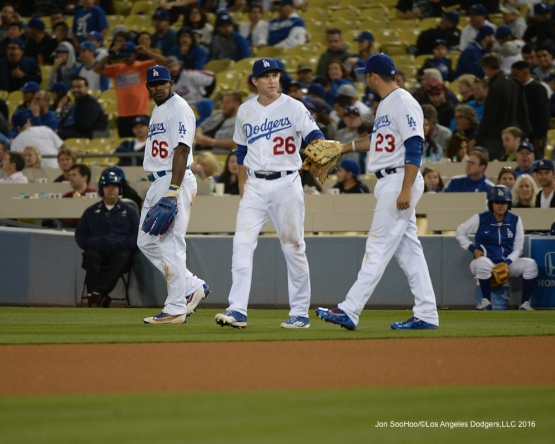 Los Angeles Dodgers Howie Kendrick, Chase Utley and Adrian Gonzalez during game against the New York Mets Wednesday, May 11,2016 at Dodger Stadium in Los Angeles,California.  Jon SooHoo/©Los Angeles Dodgers,LLC 2016