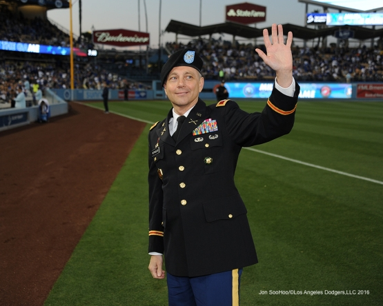 Los Angeles Dodgers Military Hero of the Game US Army Colonel, Lee Reynolds is honored during game against the New York Mets Wednesday, May 11,2016 at Dodger Stadium in Los Angeles,California.  Jon SooHoo/©Los Angeles Dodgers,LLC 2016