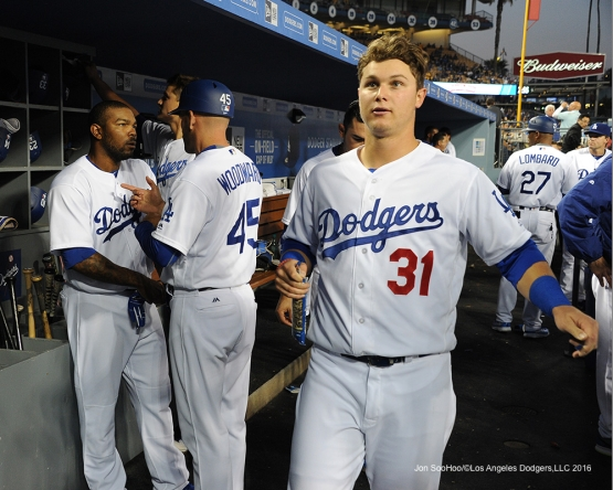Los Angeles Dodgers in the dugout during game against the New York Mets Wednesday, May 11,2016 at Dodger Stadium in Los Angeles,California.  Jon SooHoo/©Los Angeles Dodgers,LLC 2016
