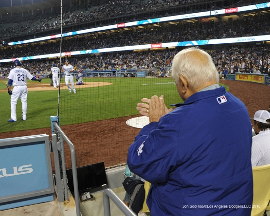Tommy Lasorda give Corey Seager a standing ovation after hitting a home run against the New York Mets Wednesday, May 11,2016 at Dodger Stadium in Los Angeles,California.  Jon SooHoo/©Los Angeles Dodgers,LLC 2016