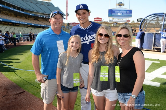 Corey Seager poses with guests prior to game against the New York Mets Thursday, May 12, 2016 at Dodger Stadium in Los Angeles,California.  Jon SooHoo/©Los Angeles Dodgers,LLC 2016