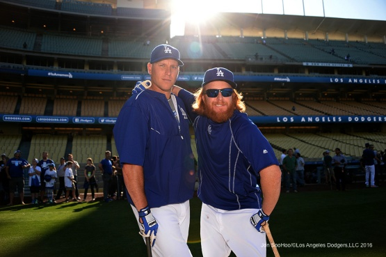 Los Angeles Dodgers A.J. Ellis and Justin Turner pose prior to game against the New York Mets Thursday, May 12, 2016 at Dodger Stadium in Los Angeles,California.  Jon SooHoo/©Los Angeles Dodgers,LLC 2016